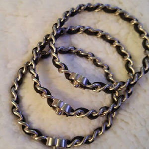 CHANEL Jewelry - Chanel black leather interlaced chain bracelets